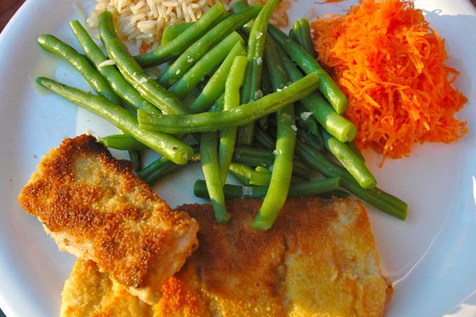 Fiskepinner med grønnsaker