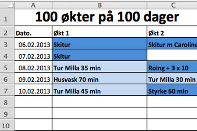Registrering på Excel