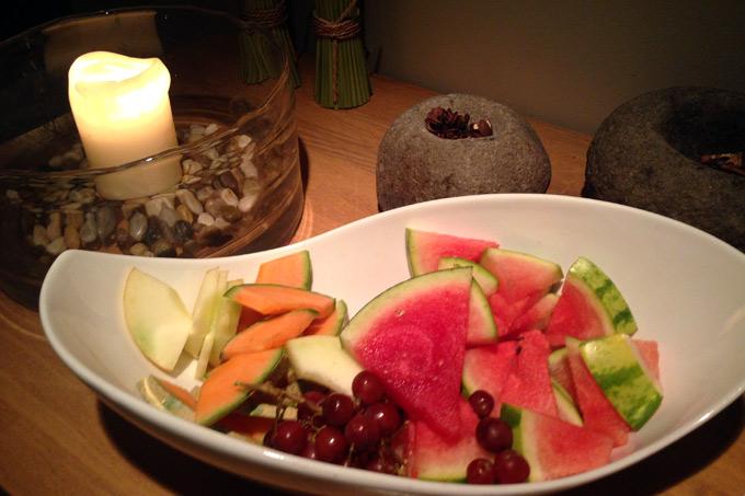 Frukt og te i spaavdelingen